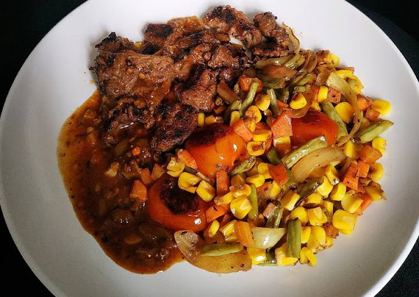 Grilled Beef and Veggies with Homemade BBQ Sauce