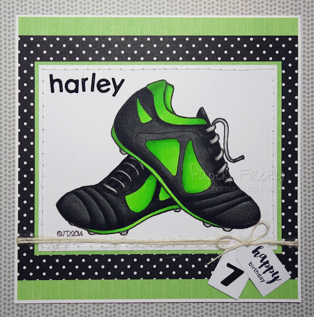 Boys birthday card featuring football boots
