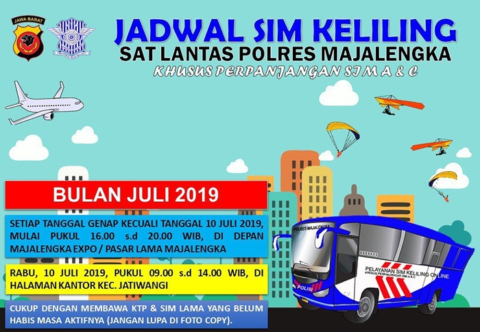 Jadwal Lengkap SIM Keliling Majalengka Bulan Juli 2019 - IGsatlantas_mjlk