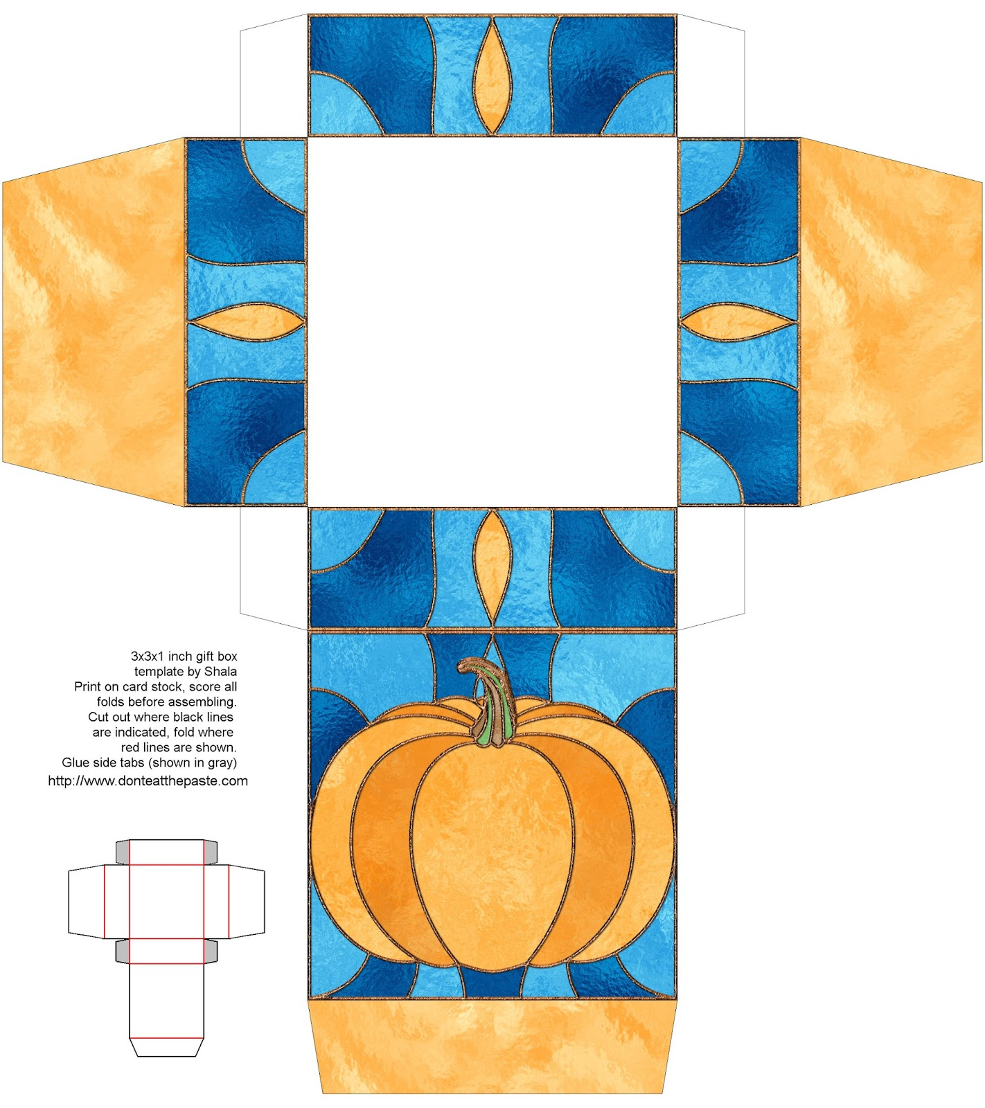 printable stained glass effect pumpkin gift box #papercrafts #printables #Halloween
