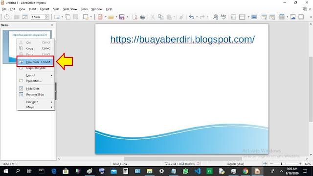 New Slide - Menambah Slide di Libre Office Impress
