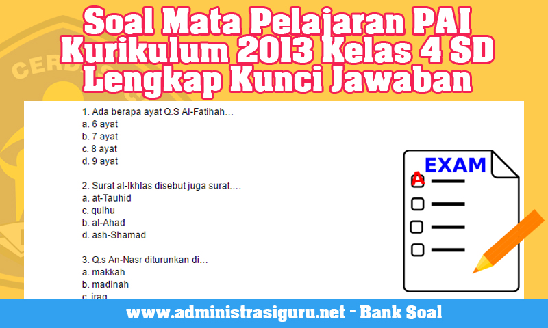 Soal Mata Pelajaran PAI Kurikulum 2013 Kelas 4 SD Lengkap Kunci Jawaban