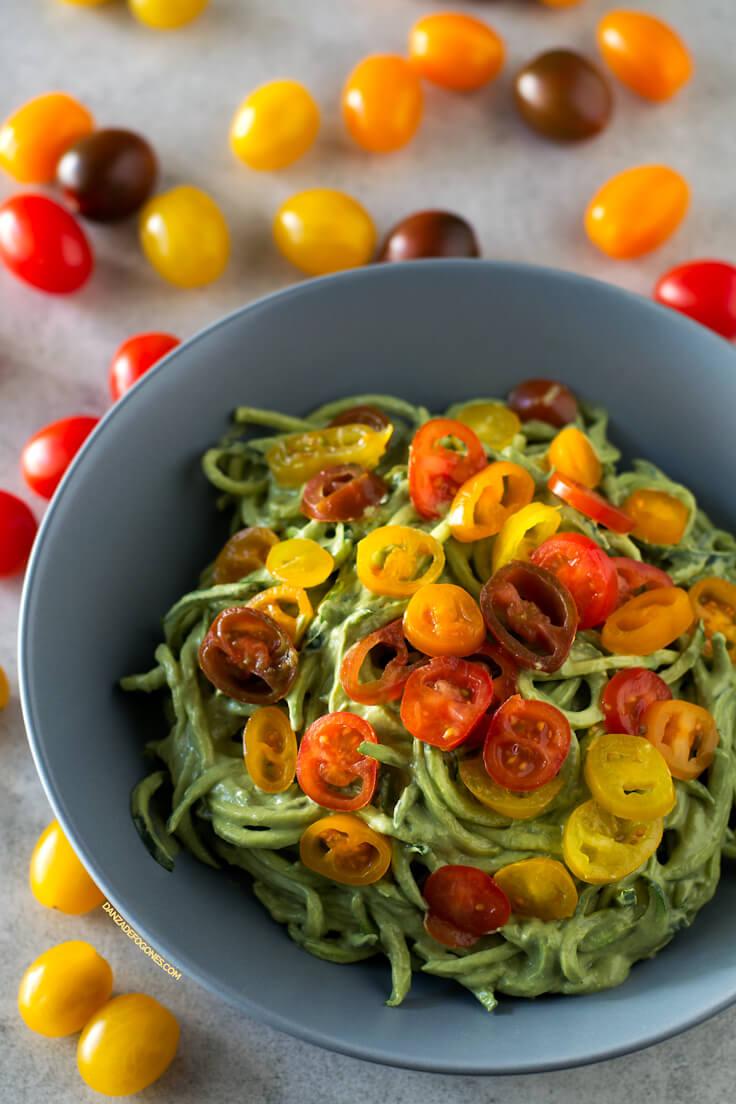 Zucchini Spaghetti with Avocado Sauce