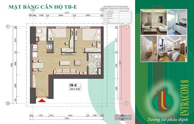 Căn hộ E 48m2 tại chung cư Intracom Vĩnh Ngọc.