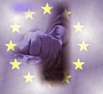 A graphic of the European Union punching up to its weight which shows a fist punching within the European Union flag