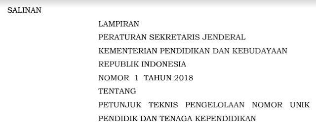 Mekanisme Penerbitan NUPTK Baru Tahun 2019 Menurut Peraturan SekJen Kemendikbud Nomor 1 Tahun 2018-http://www.librarypendidikan.com/