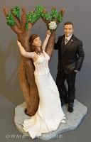 cake topper realistico anniversario sposini albero statuine per torte milano orme magiche