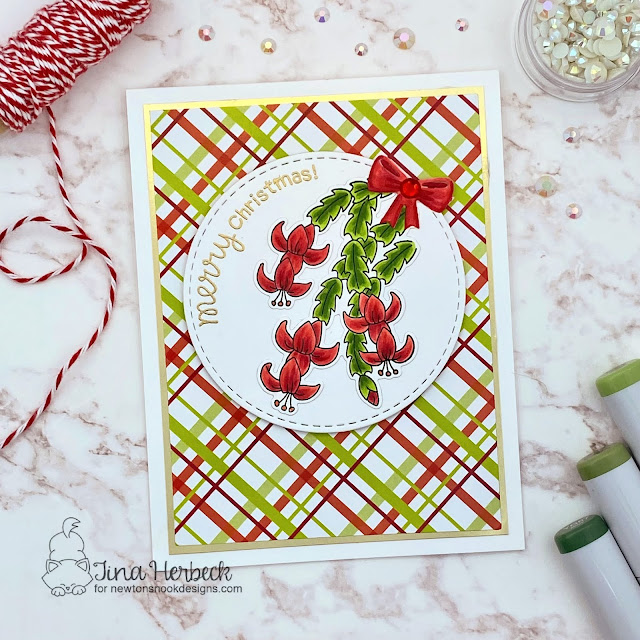 Christmas Cactus Card by Tina Herbeck | Christmas Cactus Stamp Set, Meowy Christmas Paper Pad and Circle Frames Die Set by Newton's Nook Designs