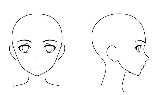 Kepala dan wajah perempuan anime