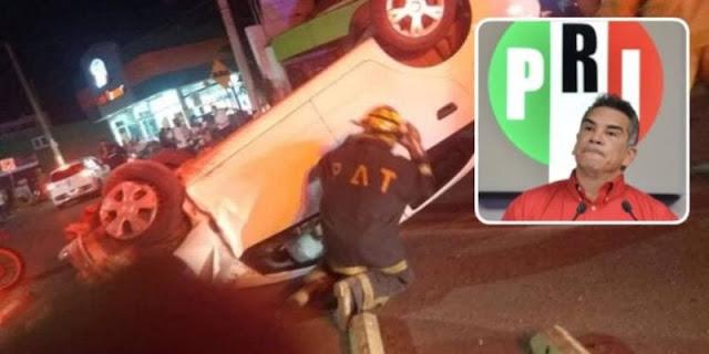 URGENTE: Por conducir borracho, líder priista en Campeche choca contra fila de autos y hiere a dos personas