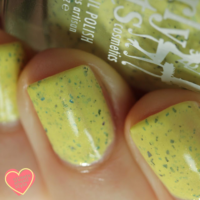 Girly Bits Peep Calm and Polish On swatch by Streets Ahead Style
