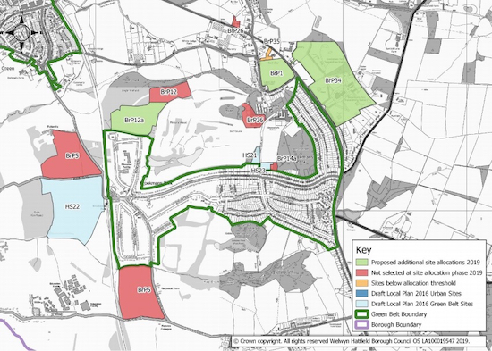 Local plan map for Bell Bar and Brookmans Park