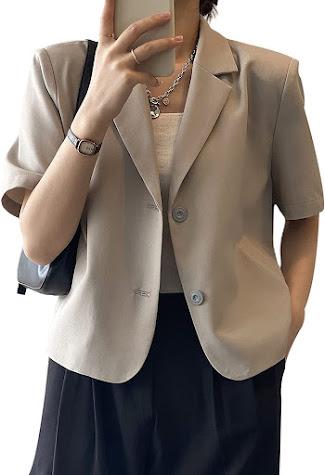Short Sleeves Casual Women's Blazers Jackets