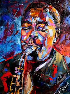 Charlie Parker Painting BIRD Jazz Saxophone Art Colorful Texture Portrait by Debra Hurd