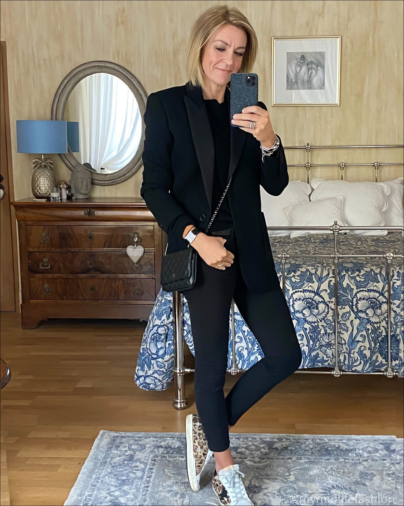 my midlife fashion, Isabel Marant tuxedo blazer, marks and Spencer pure cashmere crew neck jumper, j crew 8 inch toothpick jeans, Chanel wallet on chain, golden goose superstar low top leather trainers