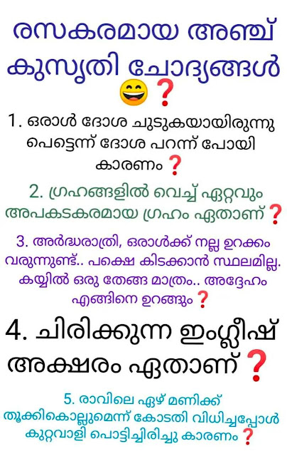 5 Kusruthi Chodyangal with Answer in 2020