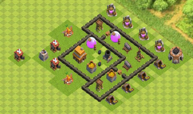 Base COC TH4 Farming 3