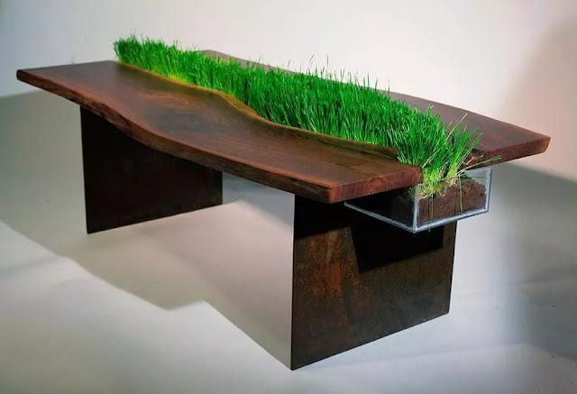 Meja ditengahnya ada rumput