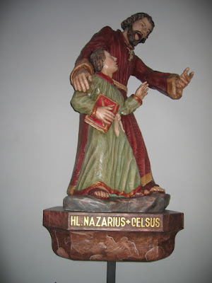 Saint Nazarius cares for the boy Saint Celsus