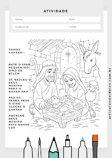 Vamos cantar e pintar a cena da capela no natal
