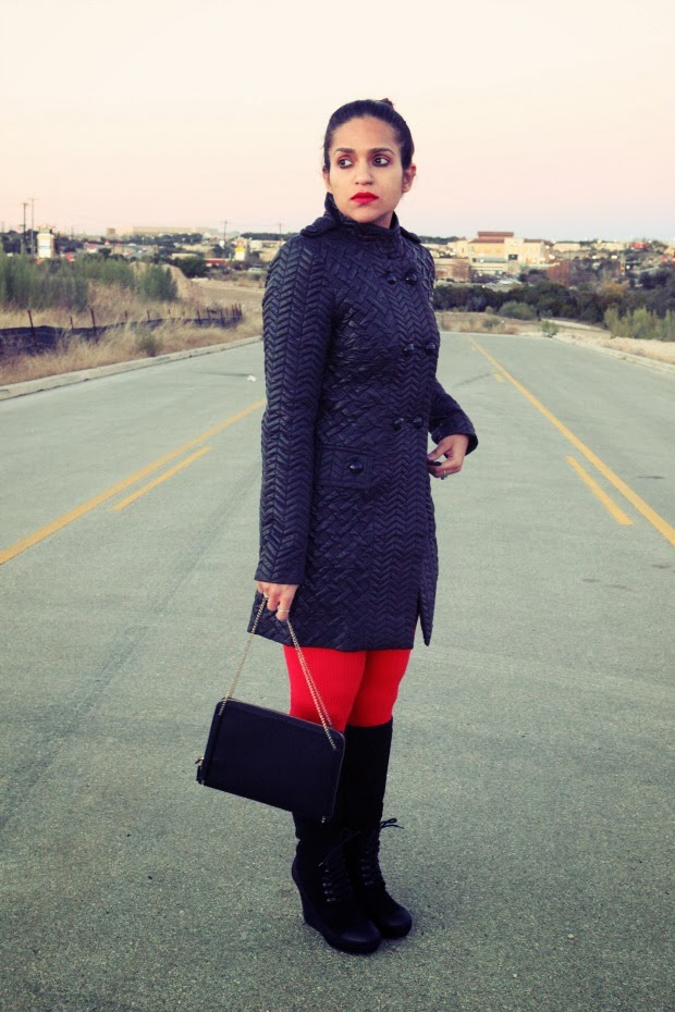 Bubble Jacket, Banana Republic Sweater, TJ Maxx Tights, Miss Sixty Shoes, Zara Clutch, Tanvii.com
