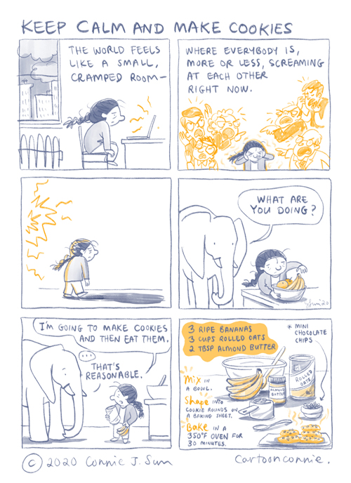 stress, coping, cookie recipe, comics, illustration, sketchbook, connie sun, cartoonconnie