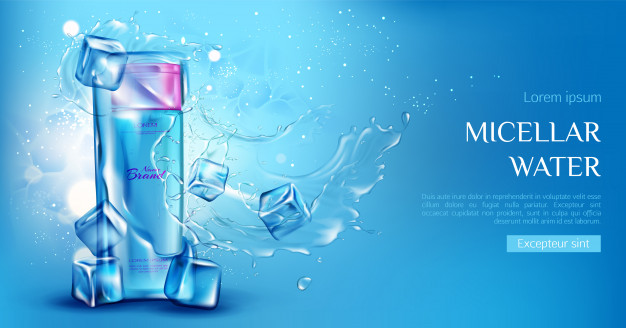 Micellar water cosmetic bottle with ice cubes, aqua splashes on blue Free Vector