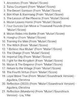 Lista de canciones BSO Mulan 2020