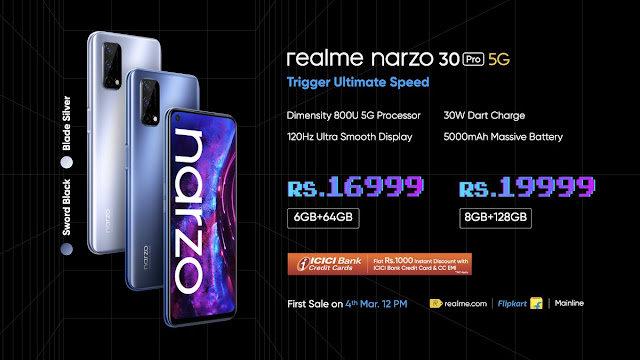 Realme Narzo 30 Pro 5G Launched - Features Blade Design, MediaTek Dimensity 800U, 5000mAh Battery and 30W Dart Charger: Price Features and Specs | TechNeg