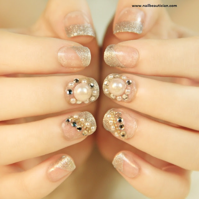 Pearls wedding nail art