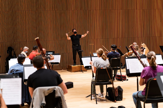 David Bernard and the Park Avenue Chamber Symphony prepare for November's interactive digital concert; they were the first NYC orchestra to return to rehearsal post-lockdown