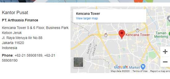 nomor kontak multifinance artha asia finance dan lokasi dari google map