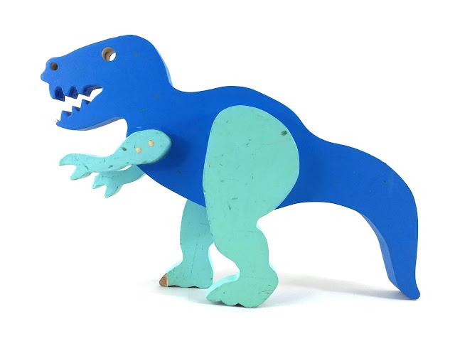 Handmade Wooden Toy Dinosaurs T-Rex Tyrannosaurus Rex Blue