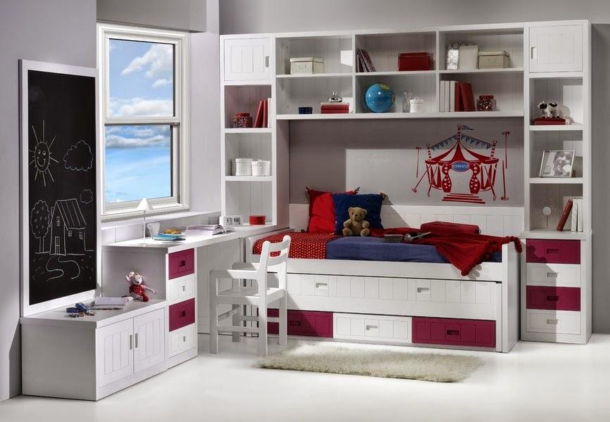 Dormitorio bastante completo con cama compacto puente - Estanterias en esquina ...