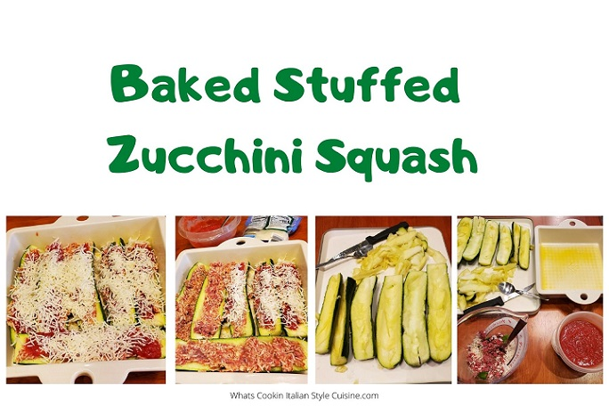 this is a collage of showing how to make stuffed zucchini
