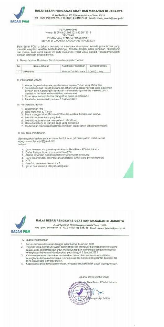Lowongan Kerja Balai Besar Badan Pengawas Obat dan Makanan (BPOM) Januari 2021