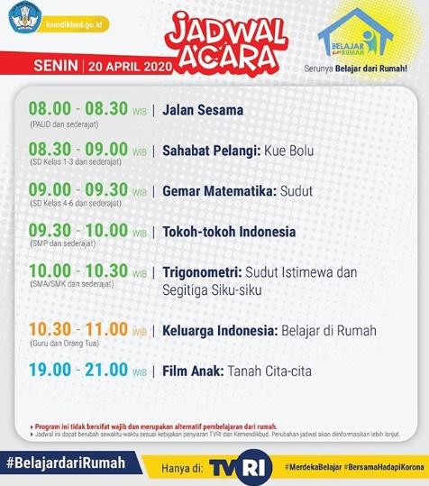 Jadwal Acara Belajar dari Rumah di TVRI, Senin 20 April 2020