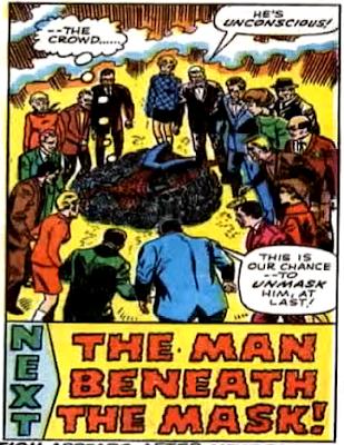 Amazing Spider-Man #64, john romita, helpless, spider-man lies on a web matt as a crowd gather around him, looking to unmask him