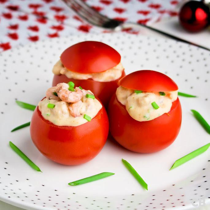 Tomaatjes met een boozy garnalenvulling