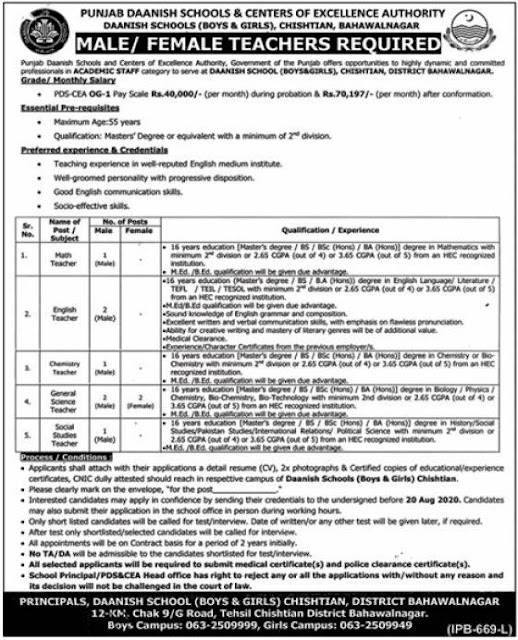 Punjab Daanish School Chishtian Jobs 2020 For Teaching jobs