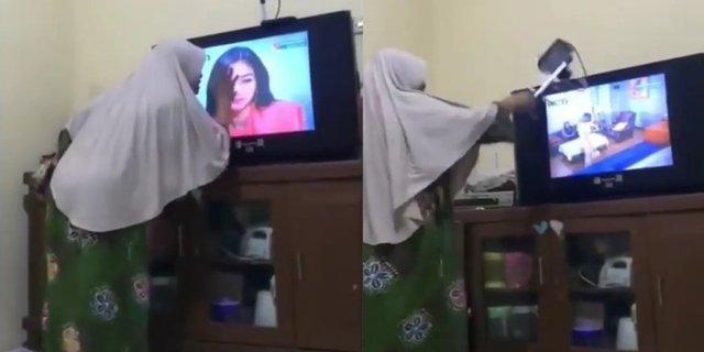 Terlalu Menghayati Sinetron, Ibu Ini Emosi sampai Gebukin Televisi!