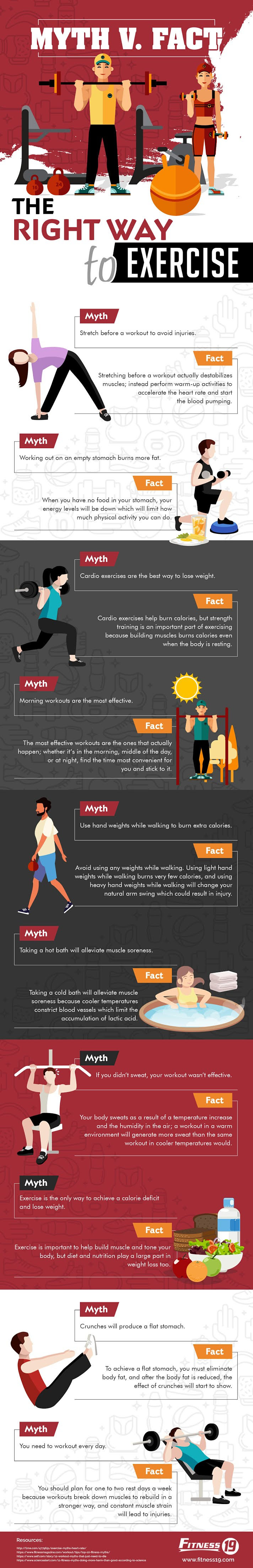 Myth V. Fact: The Right Way To Exercise #infographic