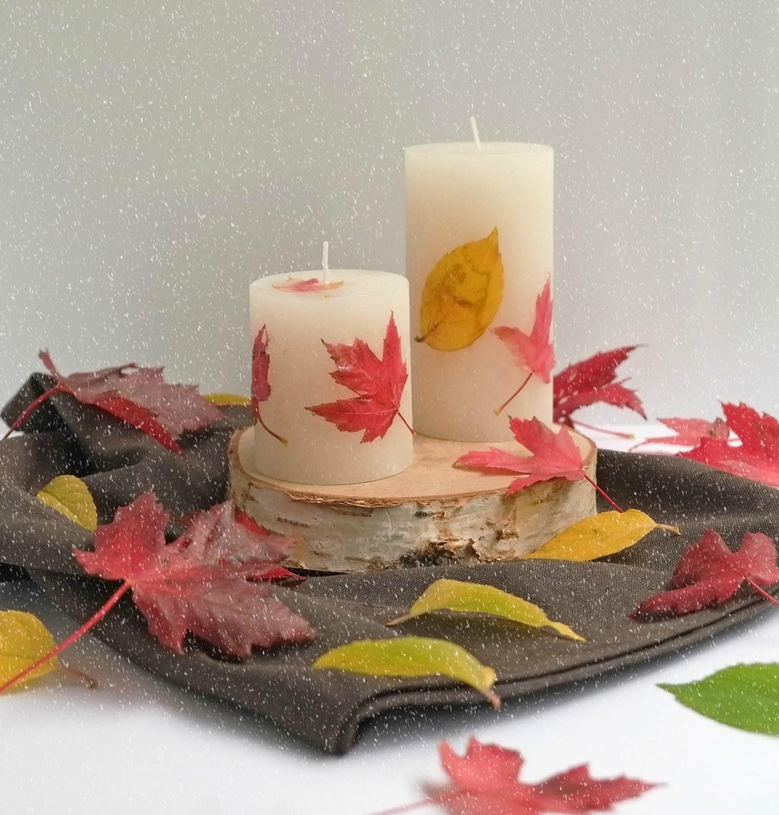 Kaarsen met Herfstbladeren - Diy Herfst