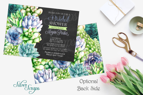 Watercolor Succulents - Rehearsal Dinner, Bridal, Couples, Baby Shower, Engagement Party Invitation - Bohemian Rustic Digital DIY anniversary birthday party 5x7 outline green lime turquoise aqua blue purple lavender pink orange red salmon leaves leaf plant plants cactus cacti unique shabby chic artist artistic paint hand painted chalkboard chalk typography text fonts black white bridesmaids luncheon matching back side design