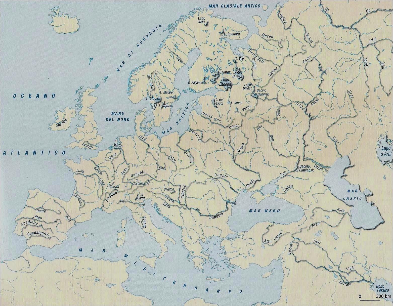 Laghi Europa Cartina.Imparare Con La Geografia 8 L Idrografia In Europa