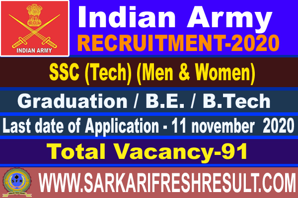 Indian Army SSC Technician Recruitment 2020 - Apply Online for 191 Posts of 56th SSC (Men) & 27th SSC (Women)