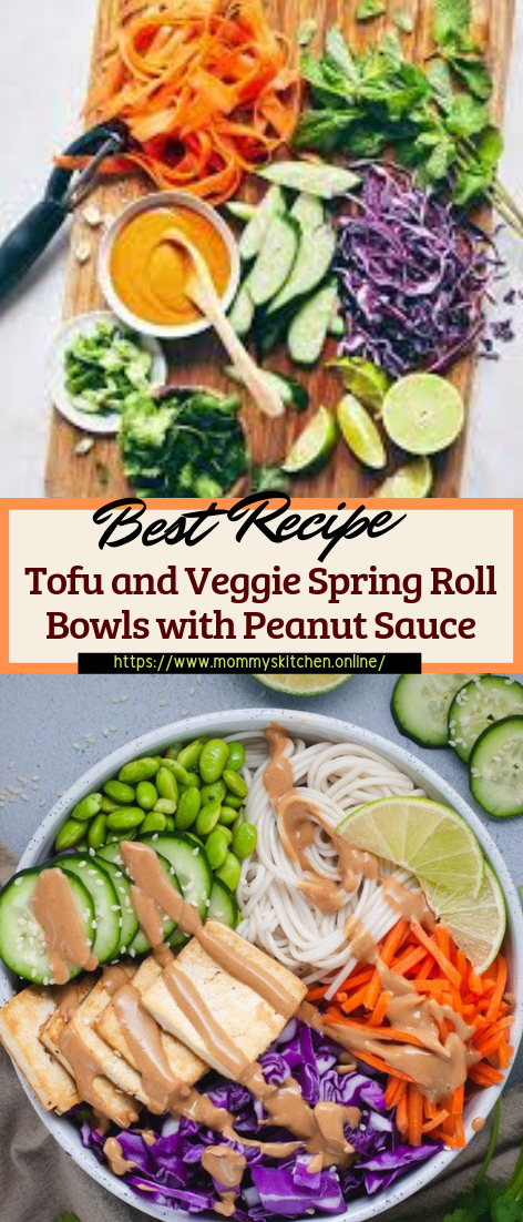 Tofu and Veggie Spring Roll Bowls with Peanut Sauce #healthyfood #dietketo #breakfast #food