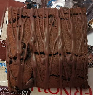 An actual Millville Fiber 90-Calorie Chocolate Fudge Brownie, outside of its packaging