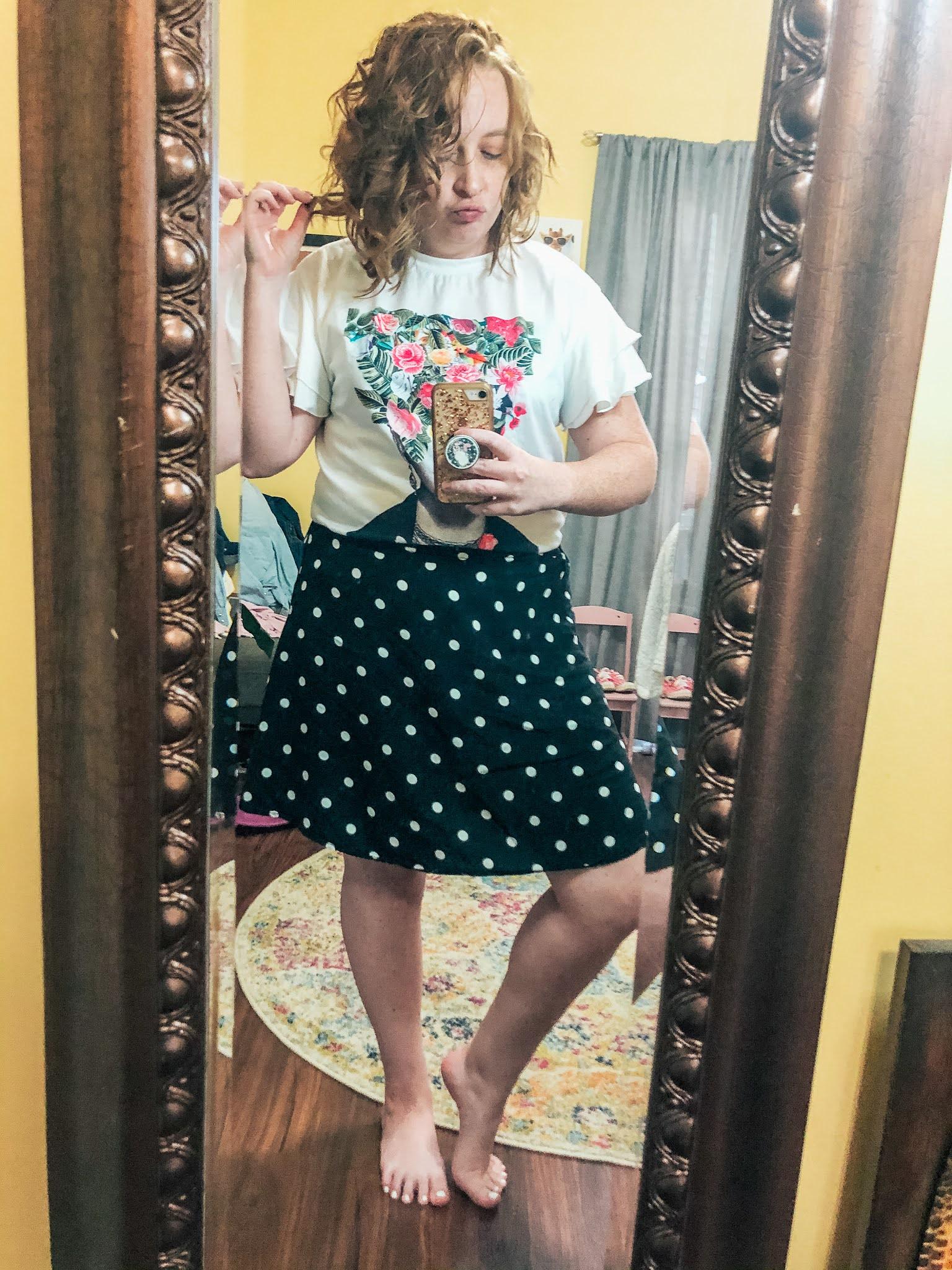 frida-kahlo-flower-shirt-polka-dot-skirt