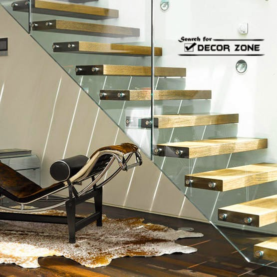 Modern staircase design structure with wooden kits and glass railings